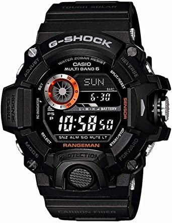 e8a5cc7afc Casio Men's GW-9400BJ-1JF G-Shock Master of G Rangeman Digital Solar Black  Carbon Fiber Insert Watch