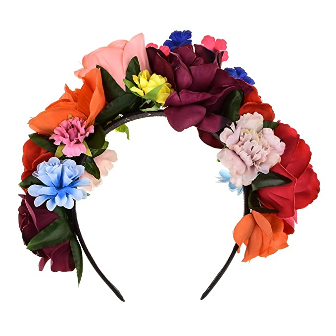 DreamLily Frida Kahlo Mexican Flower Crown Floral Headband Party Costume  Day of The Dead Headpiece NC12 6ea9af53fc6