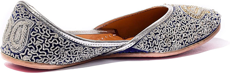 Moxsha Flats Divya-Divine Threaded Womens Shoe Jutti Blue