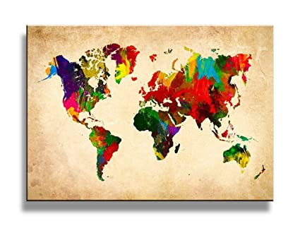 Amazon yixuanwall art canvas prints world map wall art oil yixuanwall art canvas printsworld map wall art oil paintings printed pictures stretched for gumiabroncs Choice Image