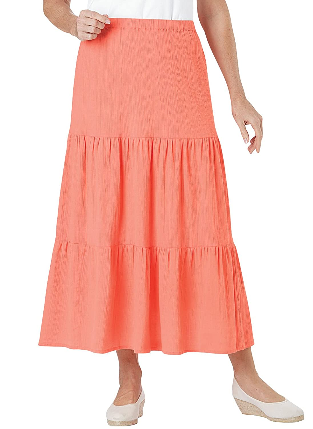 9dcf3a97ad4 This light and comfortable crinkle-cotton skirt features a slimming tiered  design. Pull-on skirt with full elastic waist. Machine wash and dry.  Imported.