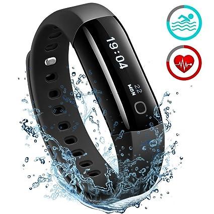 Fitness Tracker, Mpow Heart Rate Monitor Smart pulsera impermeable para natación actividad Tracker pulsera Podómetro Monitor de sueño Smartwatch ...