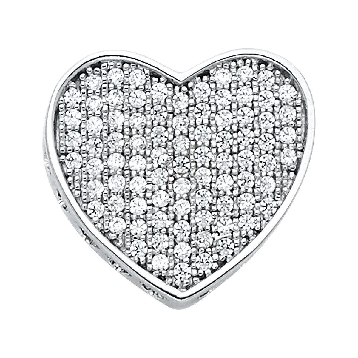 14K White Gold Love Heart CZ Pendant