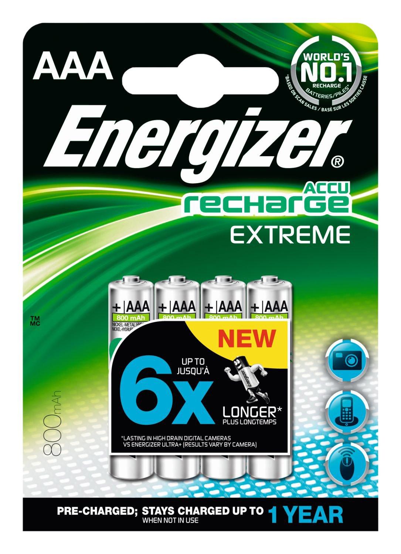 Energizer REC HR03 AAA - Pilas recargables (NiMh, 1.25 V, 800 mAh, 4 unidades) Energizer Batteries ENRAAA800P4