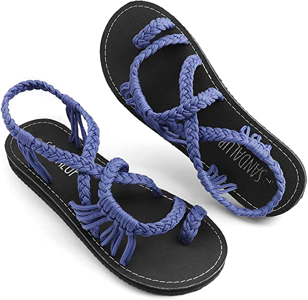 fa5e72ca48454a SANDALUP Handmade Ring Toe Braided Flat Sandal Summer Walking Sandals Blue  10