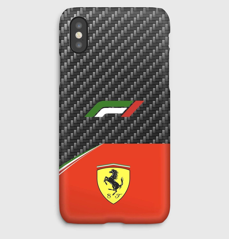 F1 carbon Ferrari,coque pour iPhone XS, XS Max, XR, X, 8, 8+, 7, 7+, 6S, 6, 6S+, 6+, 5C, 5, 5S, 5SE, 4S, 4,