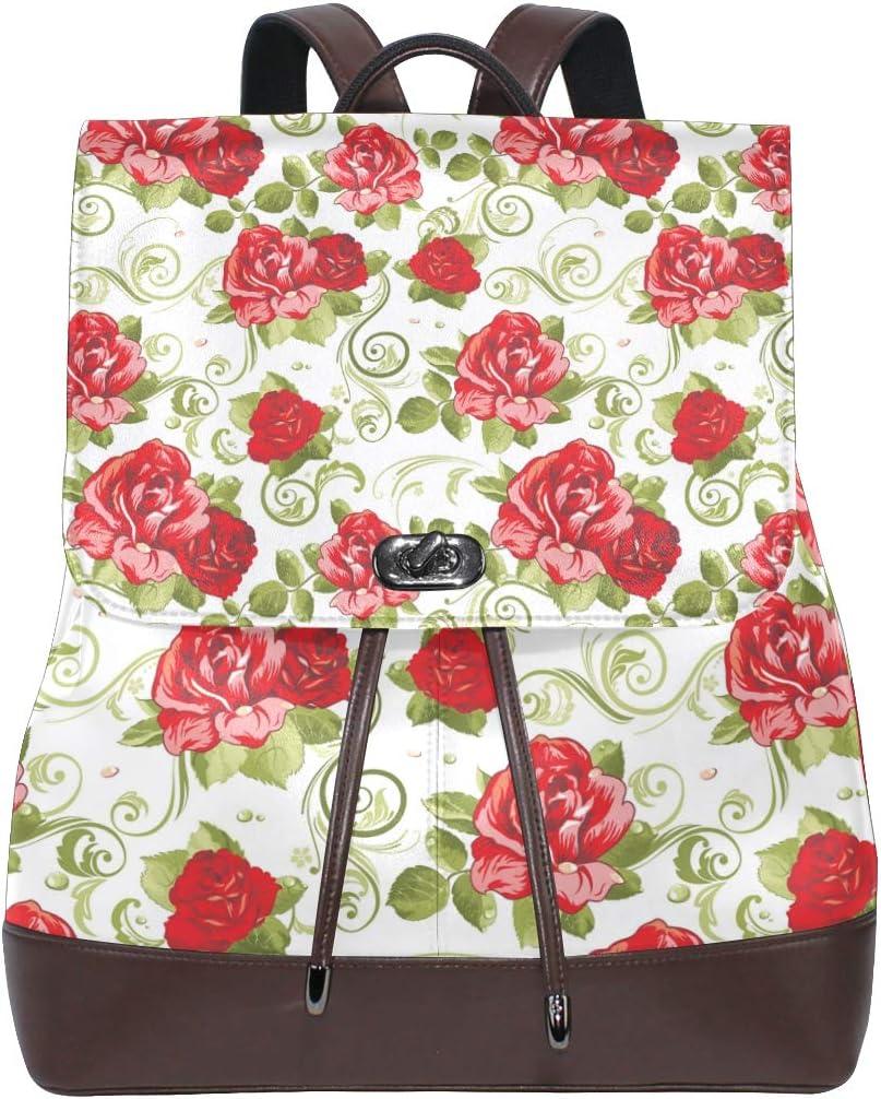 LUPINZ Mochila de Cuero para Libros con Estampado de Flores Rojas para la Vuelta al Cole: Amazon.es: Electrónica