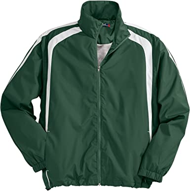 XL Sport-Tek Youth Colorblock Raglan Jacket Forest Green//White