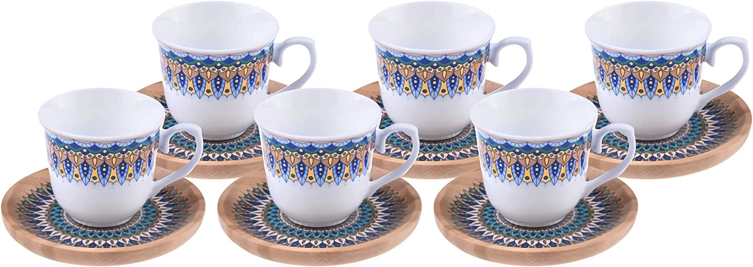 Alisveristime 12 Pc Turkish Greek Arabic Coffee Espresso Cup Saucer Porcelain Set Arabesque Pattern Cups (Kallavi