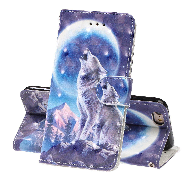 Maoerdo LG Stylo 5 Wallet Case,Premium Luxury Fashion 3D Print Folio Flip PU Stand Wristband Credit Card ID HoldersWallet Leather Case Cover for LG Stylo 5 (2019) - Jokul Wolf