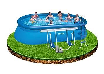 Intex Aufstellpool Oval Frame Pool Set Blau 610 X 366 X 122 Cm