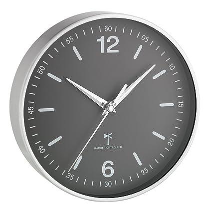 TFA Dostmann 60.3503 Reloj de pared analógico controlado por radio (gris con batería)