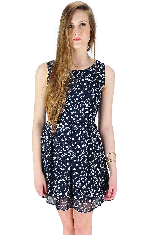 Damen-Sleeveless Sommer-Kleid-Gänseblümchen-Blumen-Druck-Skater ...