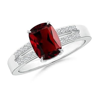 Cojín granate Split Shank anillo con detalles de diamante (8 ...
