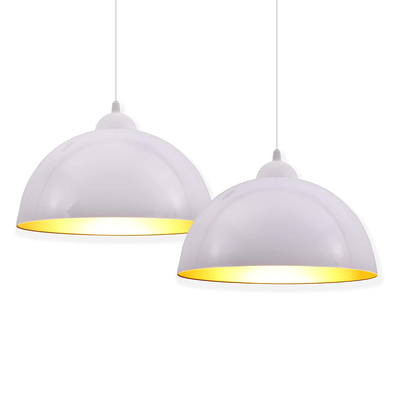 2X Design Industrial Vintage LED Pendant Light I Retro Lamp I Suspension Lamp I 30cm Diameter I E27 Socket I Black & Gold I Living Room I Kitchen I Restaurants I Basements B.K.Licht BKL1093