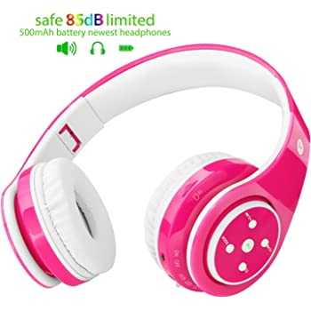 2018 Bluetooth Headphones Kids, 85db Volume Limited, up to 6-8 Hours Play, Stereo Sound, SD Card Slot, Over-Ear Build-in Mic Wireless/Wired Headphones Boys ...