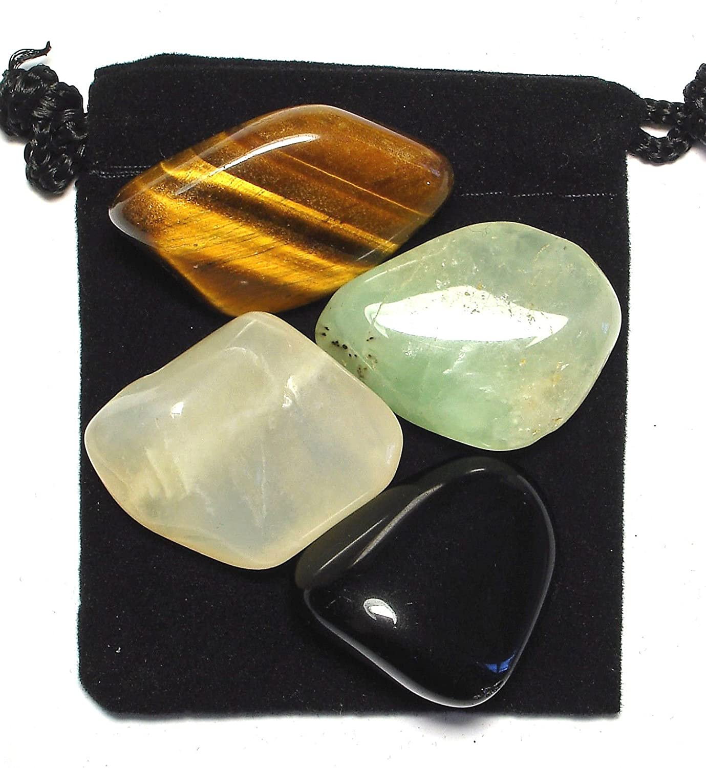 The Magic Is In You Manifestation (Law of Attraction) Tumbled Crystal Healing Set with Pouch & Description Card - Black Obsidian, Moonstone, Prehnite, and Tiger's Eye