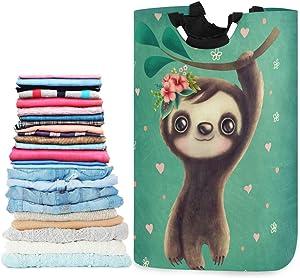 visesunny Classic Sloth with Floral Animal Large Capacity Laundry Hamper Basket Water-Resistant Oxford Cloth Storage Baskets for Bedroom, Bathroom, Dorm, Kids Room