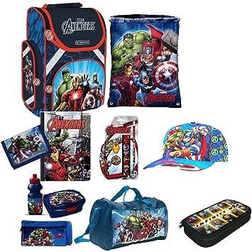 9a4d6d6e47857 Avengers XL 14 Teile Schulranzen RANZEN FEDERMAPPE Rucksack mit Sticker von  Kids4shop Tasche Set Captain America