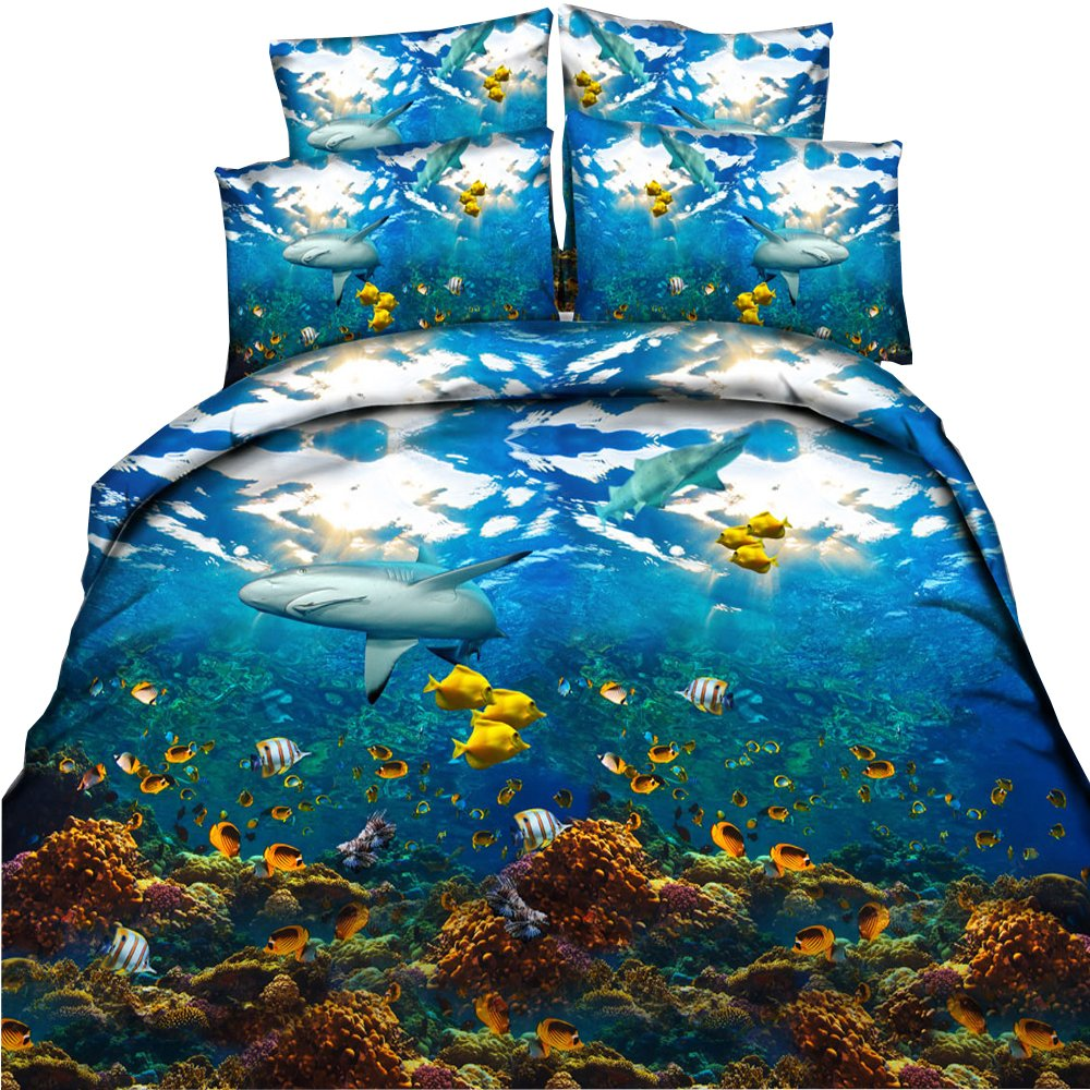 EsyDream Underwater World Animal Shark Ocean Fish With Coral Reef Kids/Boys Duvet Cover Sets No Comforter,Queen Size 4PC/Set((1 Duvet Cover +1 Flat Bed Sheet+2 Pillowcase)