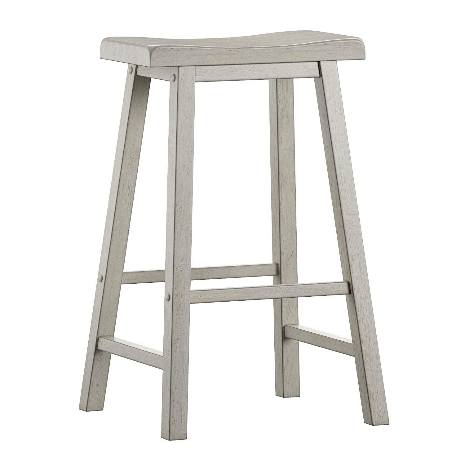 ModHaus Living Modern Transitional 29 inch Saddle Seat Backless Set of 2 Barstool - Includes Pen (White)