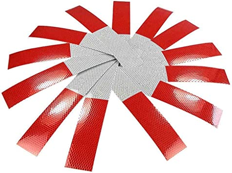 10x Truck Vehicle Trailer Reflective Safety Warning Stickers Red White Strip