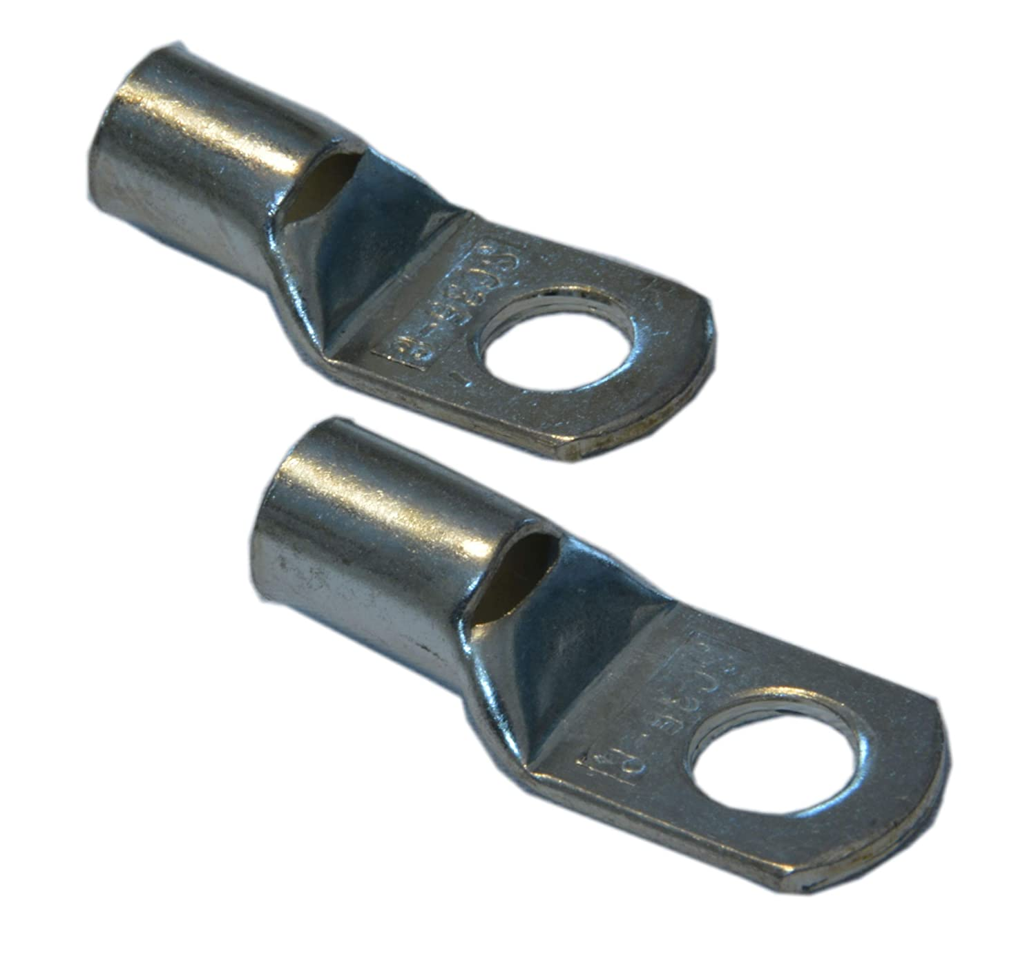 """NEP 1//0 AWG 3//8/"""" Hole Tinned Solid Copper Cable Lugs Heavy Duty Battery Wire Ends Eyelets Ring Terminal Connectors"""