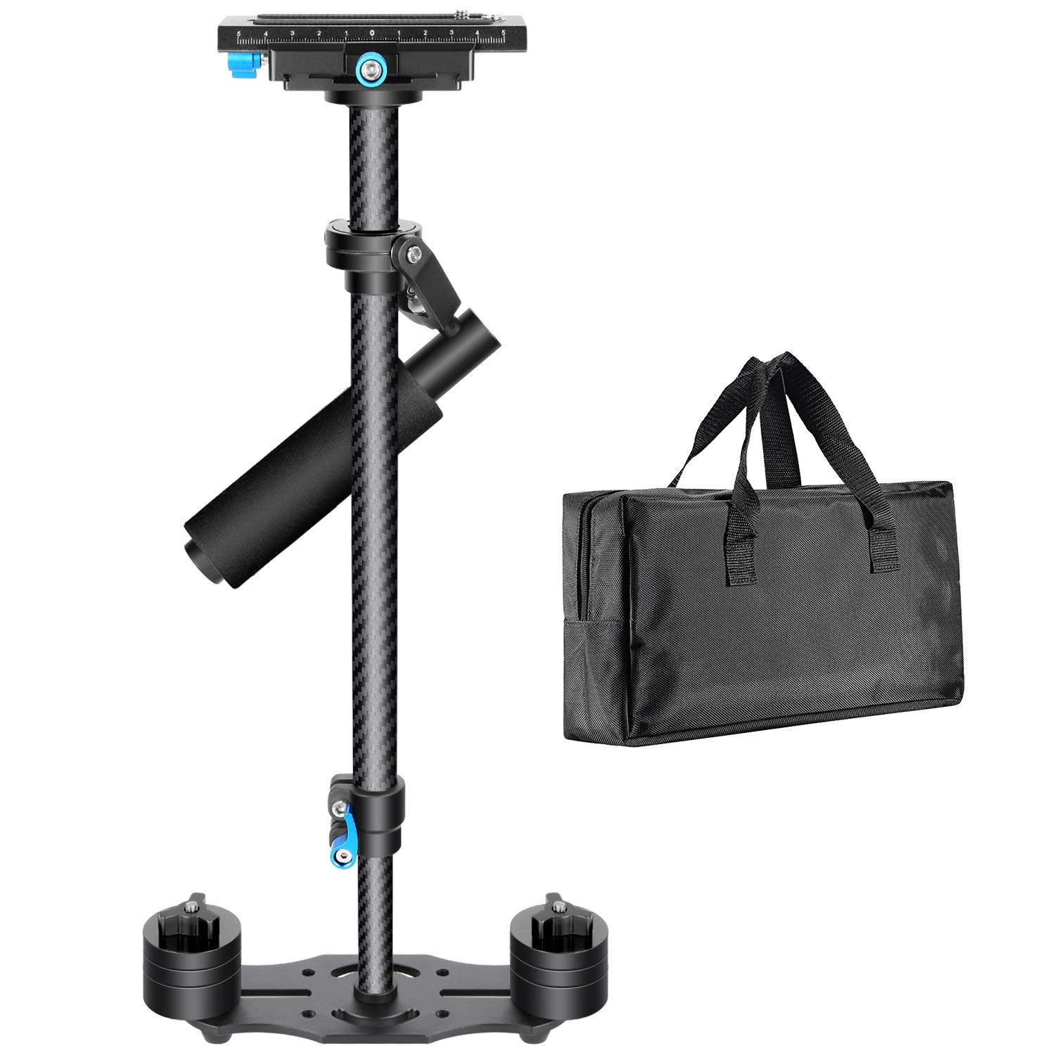 Black Neewer Carbon Fiber 24 inches//60 centimeters Handheld Stabilizer with 1//4 3//8 inch Screw Quick Shoe Plate for Canon Nikon Sony and Other DSLR Camera Video DV up to 6.6 pounds//3 kilograms