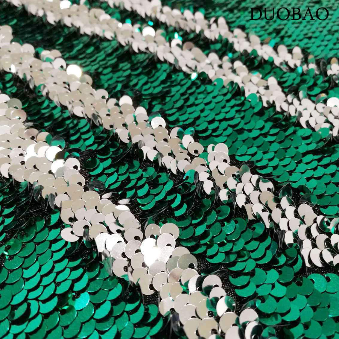 DUOBAO Sequin Backdrop 8Ft Green to Silver Rerversble Glitter Backdrop 4FTx8FT Mermaid Sequin Backdrop for Photo Booth Wedding Ceremony Backdrop by DUOBAO (Image #5)
