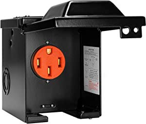 CARMTEK 50 Amp RV Outlet Box - 125/250 Volt Enclosed Lockable NEMA 14-50R Outdoor Electrical Box - Weatherproof RV Electrical Outlet Cover Box for Temporary Hookup RV Camper Travel Trailer