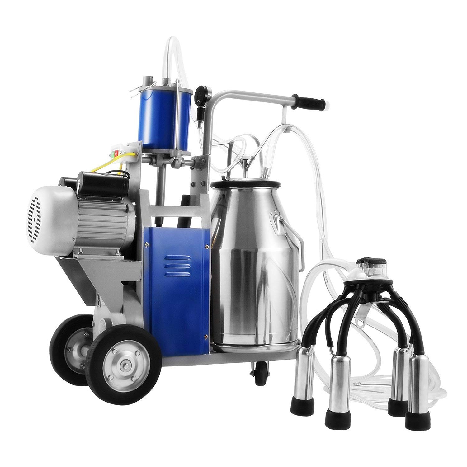 Happybuy Electric Milking Machine 25L Single Bucket Milking Machine 1440 RMP Piston Milking Machine for Cows 304 Stainless Steel Bucket