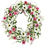 Pink and White Wildflower Spring Wreath