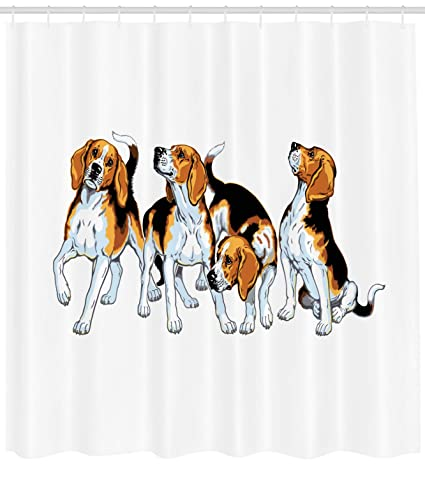 Ambesonne Beagle Shower Curtain Four Hounds Siblings Playing Foxhound I Love My Dog Breed
