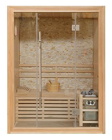 Sauna Finlandese 150x120 Per 3 Persone Con Muro In Marmo E