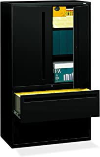 """product image for HON 2-Drawer with 3 Shelves Office Filing Cabinet - Brigade 700 Series Lateral File Cabinet, 19.25""""D, Black (H795)"""
