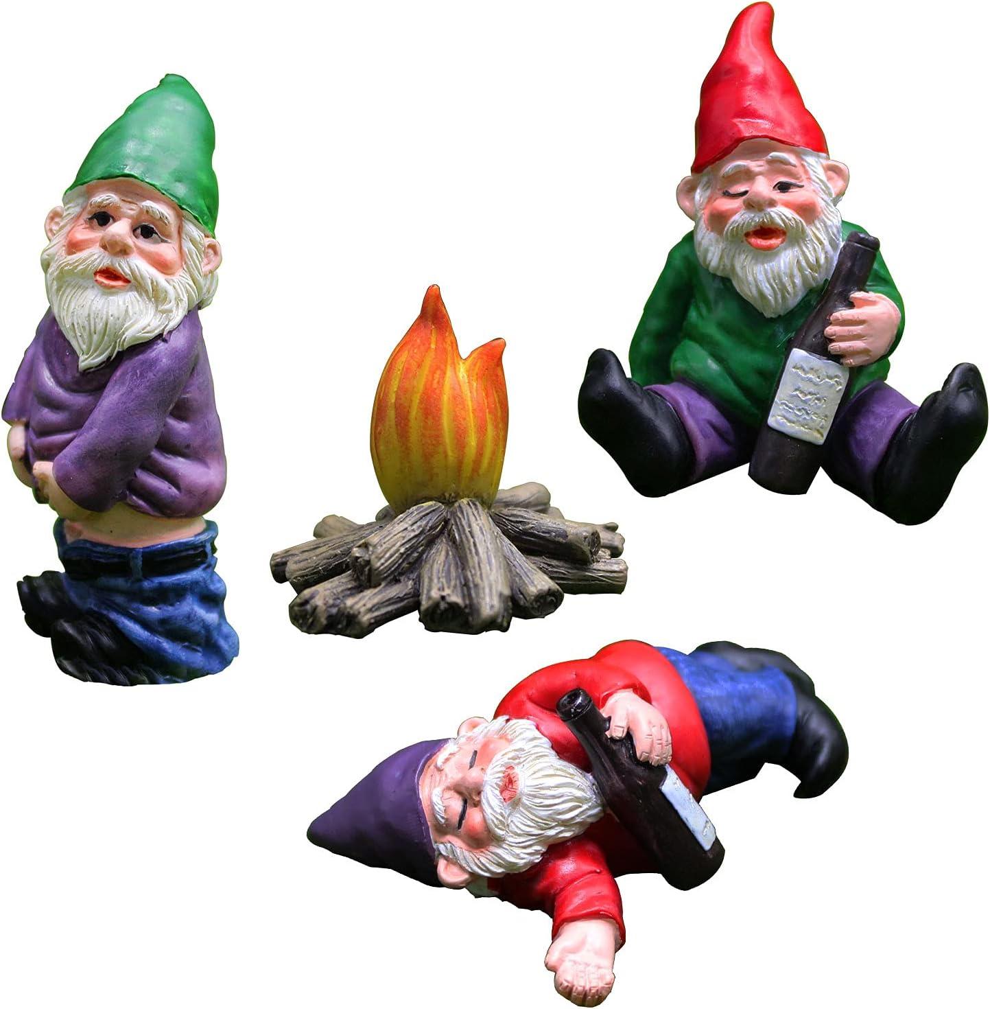 Garden Gnomes 4pcs - Resin Drunken Gnome Garden Decorations Fairy Garden Accessories Collectible Figurines Miniature Gardening Gnomes Figurines Ornaments - Drunk Gnome Kit
