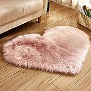MSOO Wool Imitation Sheepskin Rugs Faux Fur Non Slip Bedroom Shaggy Carpet Mats (M 40x50cm)