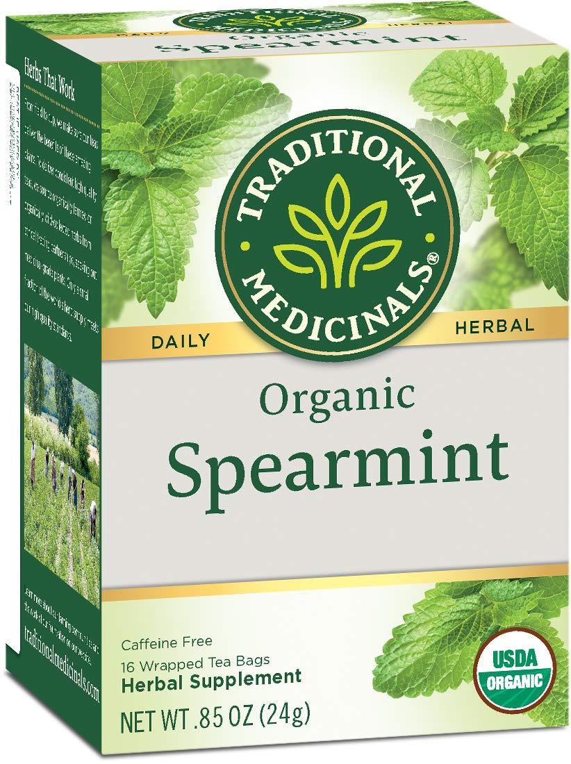 Traditional Medicinals Organic Spearmint Herbal  Tea, 16 Tea Bags (Pack of 6) by Traditional Medicinals