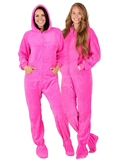 Amazon.com  Footed Pajamas - Perfect Pink Adult Hoodie Chenille ... 43e9cd5f8