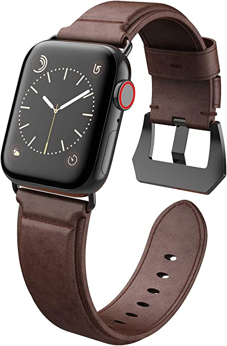 Compatible with Apple Watch Band 42mm 44mm, EPULY Genuine Leather Replacement Band, Strap for iWatch SE Series 6/5/4/3/2/1 with Case