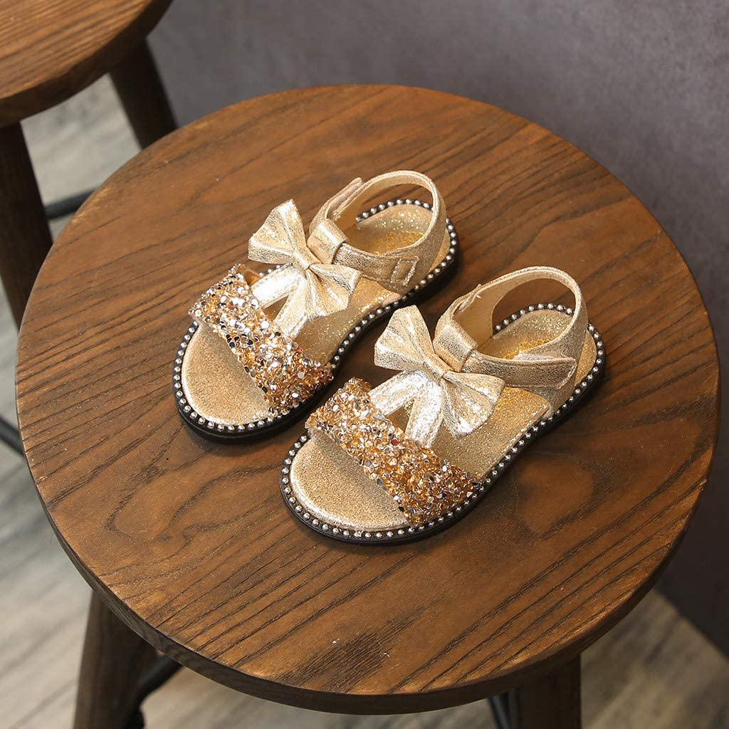 Kids Baby Girls Bowknot Bling Sequins Single Princess Shoes Sandals Randolly Toddler Shoes