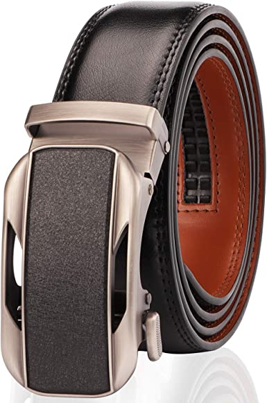 Classic Ratchet Belt for Men with Slide Buckle,Trim to Fit