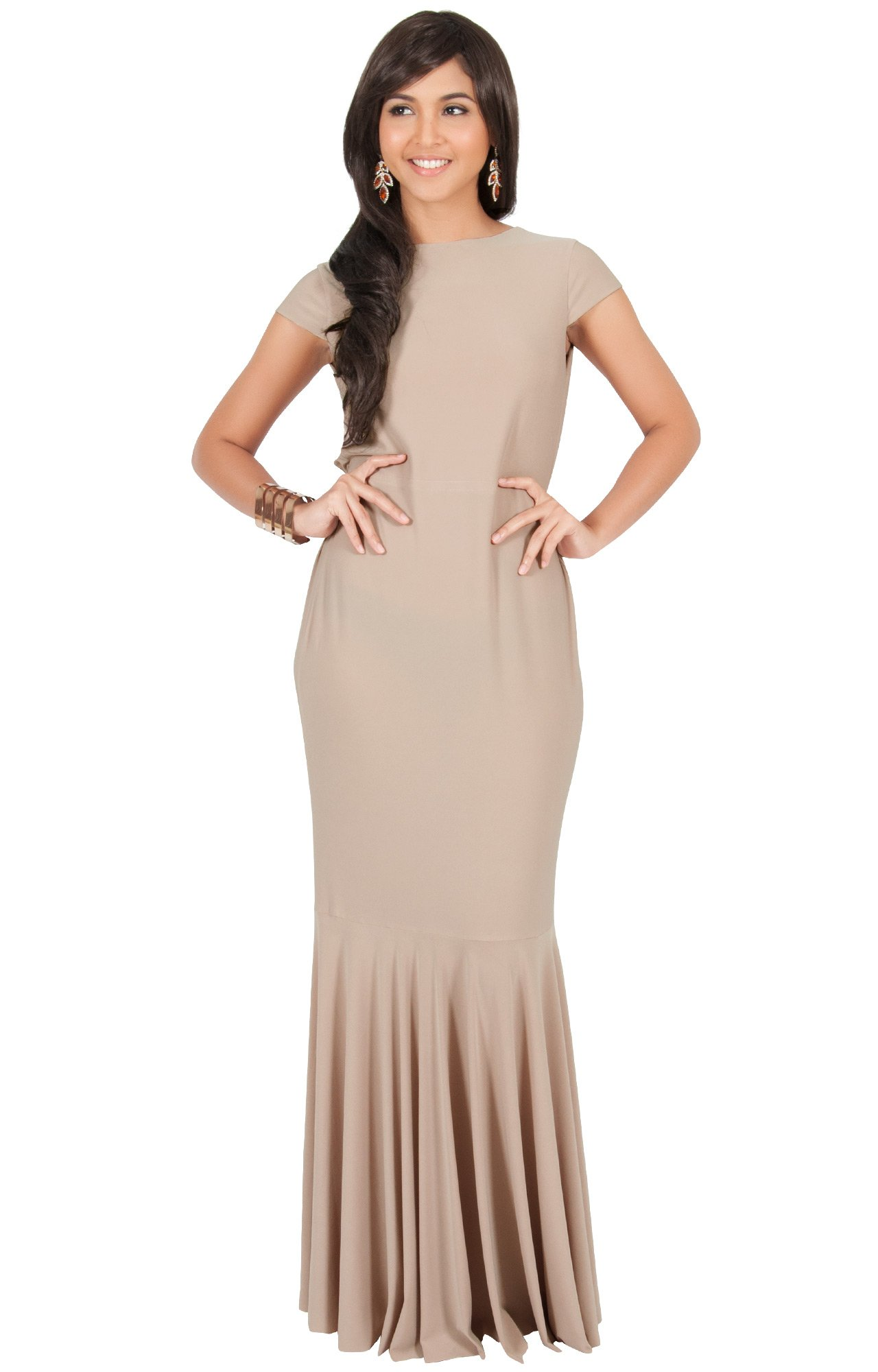 KOH KOH Plus Size Womens Long Cap Short Sleeve Formal Sexy Evening Prom Cocktail Bridesmaids Wedding Party Guest Tube Flowy Cute Fishtail Gown Gowns Maxi Dress Dresses, Brown/Latte 2XL 18-20