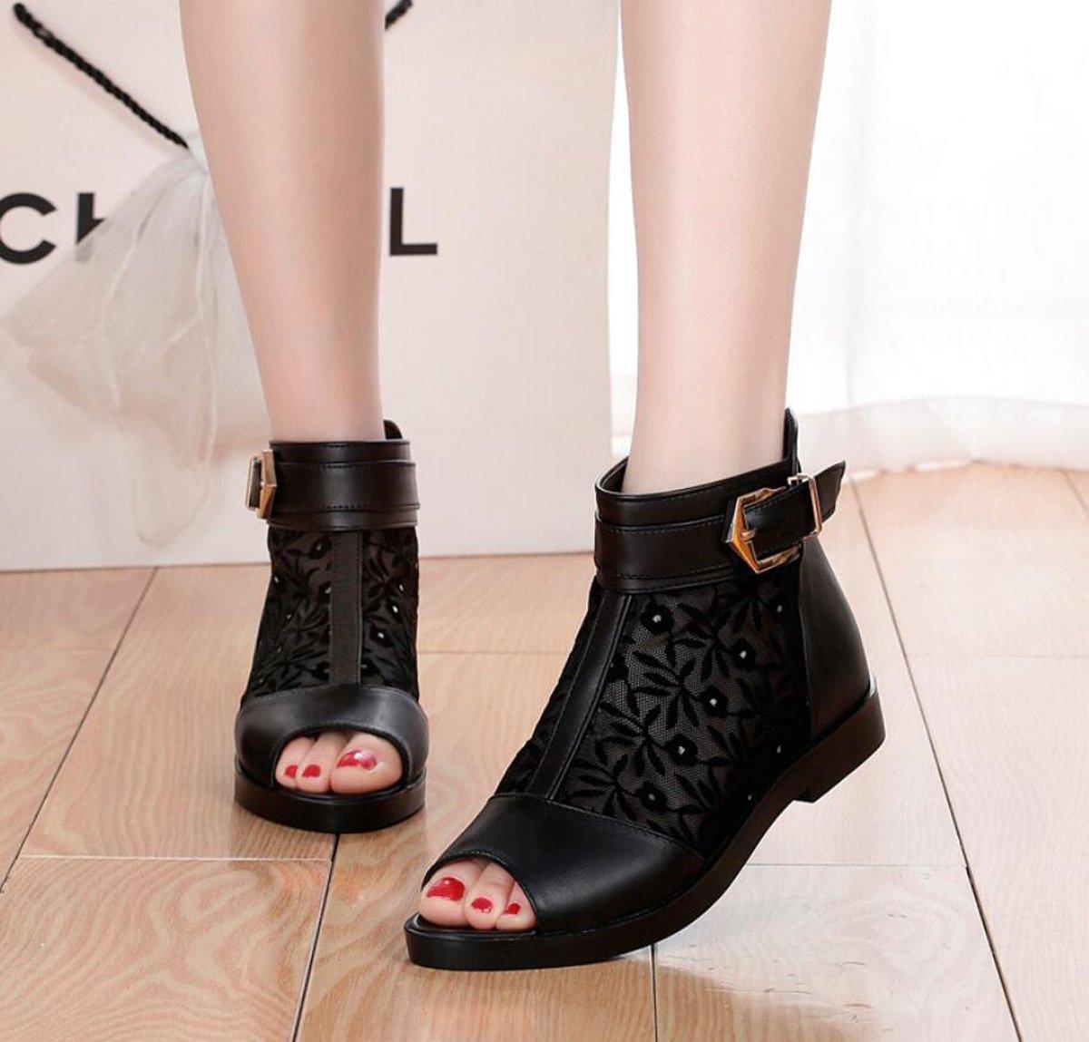 DANDANJIE Frauen Sandalen Stiefel Sommer Mesh Mesh Mesh Hohl Offene Spitze Comfort Outdoor Sandalen Niedrige Ferse Bequeme Schuhe (Farbe   Schwarz Größe   36) 6912f5
