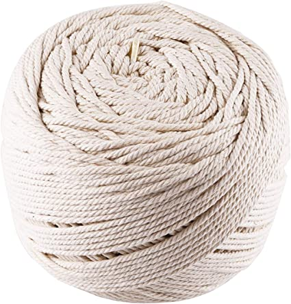 Ialwiyo 3 mm 328 Feet 4 Ply Natural Cotton Macrame Rope Cord Twisted Cord Macrame Supplies 3mm for Macrame Wall Hanging Plant Hanger Craft Making Knitting Yellow