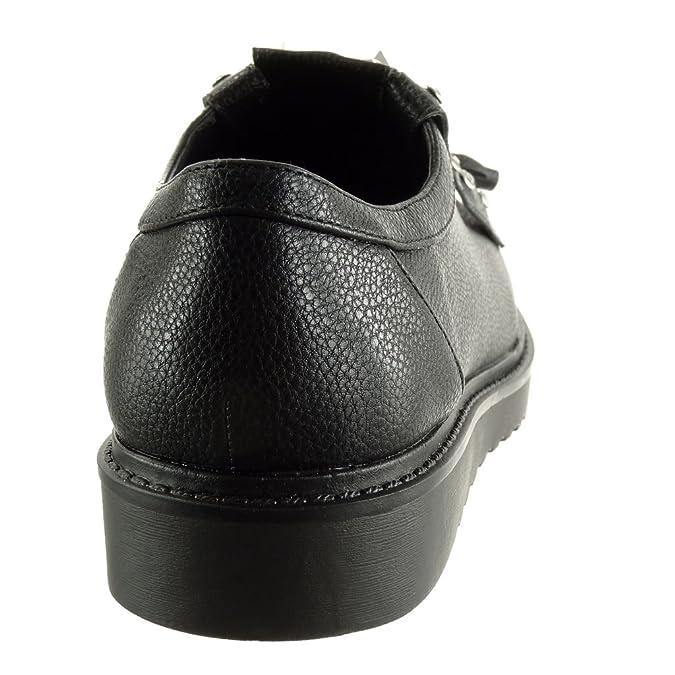 Angkorly Damen Schuhe Derby-Schuh - Plateauschuhe - Nieten - Besetzt - Reißverschluss - genarbtem Keilabsatz 2.5 cm - Schwarz JN1009 T 38 5PPSPUqojh