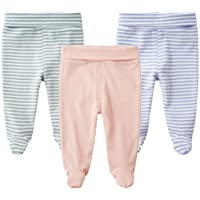 SYCLZ Baby 3-Pack Cotton High Waist Footed Pants Casual Leggings 0-12M