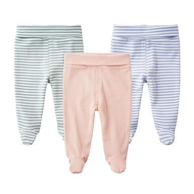 e5f215d27da6e SYCLZ Baby 3-Pack 100% Cotton High Waist Footed Pants Casual Leggings 0-