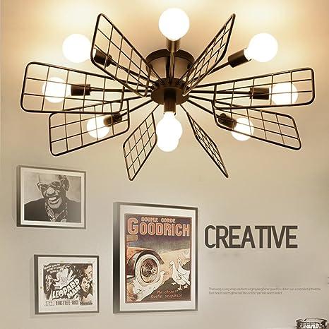 Moderno Creativo Lámparas de techo 9 luces Hierro Negro ...