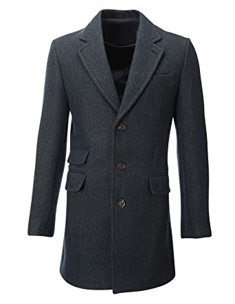 FLATSEVEN Mens Winter Tweed Coat Long Jacket Wool (CT901) Blue XS